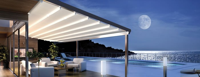 All Seasons retractable roof system at night, Sydney