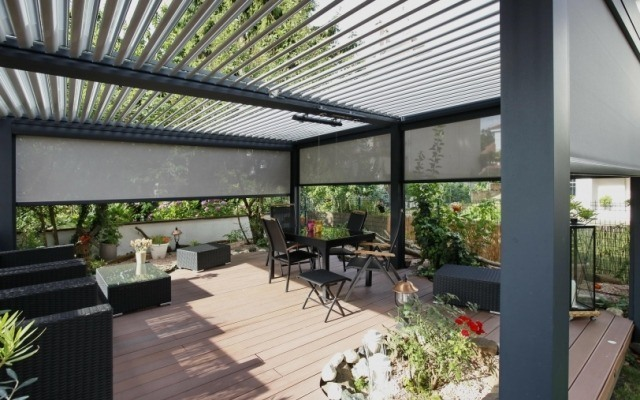 louvre roof with external blinds Open ... - Louvered Roofs - OzSun Shade Systems - Sydney Awnings